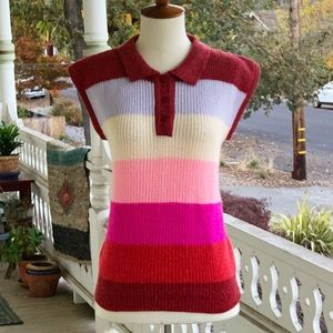 Vintage 80s Electric Rainbow Collared Sweater